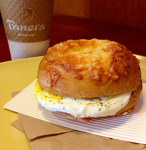 Breakfast at Panera: Asiago  bagel with egg and cheese