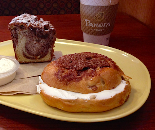 Please ignore the cinnamon crumb cake that hides behind my already super fattening breakfast bagel. It was free, so no judgements please.
