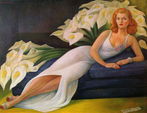 A very glamorous portrait of Natasha Gelman with calla lilies painted by Diego