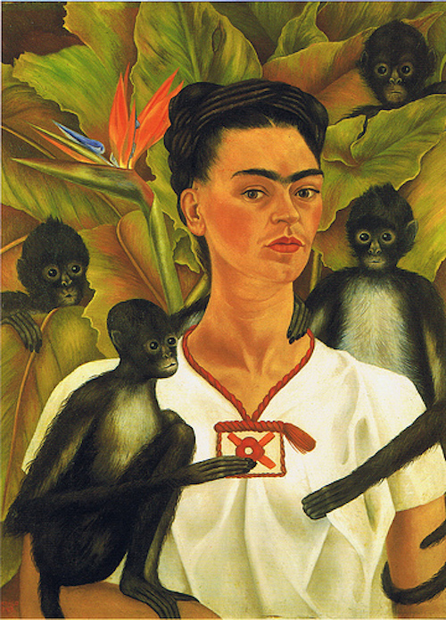 Self portrait with monkeys: I love these colorful whimsical paintings, they have such charm to them.