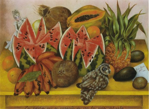 The Bride Frightened at Seeing Life Opened, by Frida Kahlo The open fruit are supposed to have a sexual connotation.  Supposedly this is about a bride being nervous about loosing her virginity. Eat that watermelon LOL.