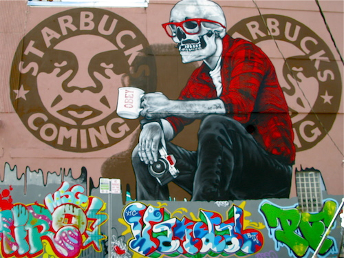 In the world of street art, everyone knows Shepard Fairey. He is one of the rock stars. He has a very signature style.