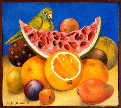 I adore this one too. It makes me smile. Cut open fruits in Frida's paintings are sexually symbolic by the way.
