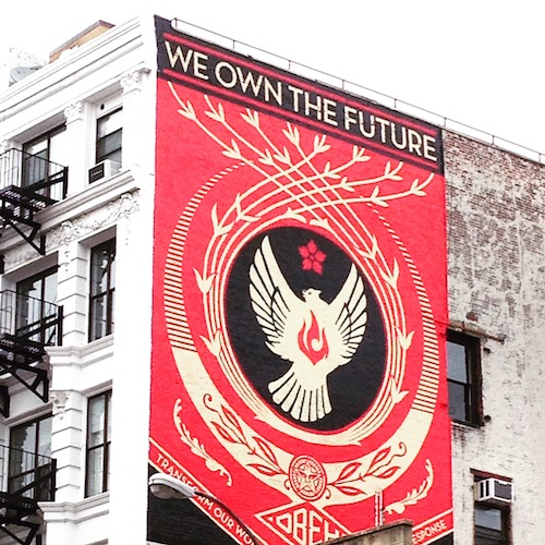 A piece by Shepard Fairey which I found while lost somewhere around Chinatown.